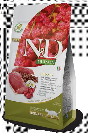 FARMINA N&D NATURAL & DELICIOUS Cat Grain Free Quinoa, Duck & Cranberry Urinary - sausā barība kaķiem 300g